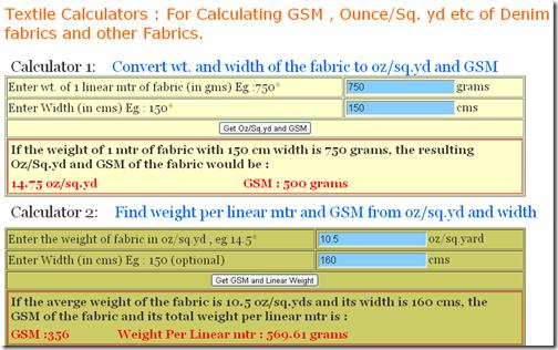 textile calculators fabric