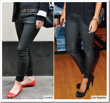 Black Wax - leather look denim