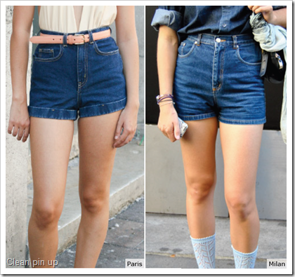 Clean Pin up shorts in denim
