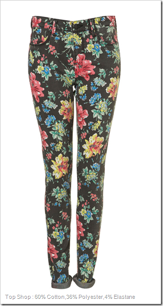 Top Shop : 60% Cotton,36% Polyester,4% Elastane Floral Denim