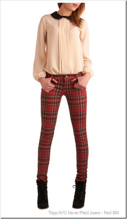 Tripp NYC Never Plaid Jeans - Red $80