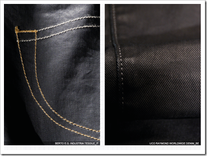 Coated dark denims