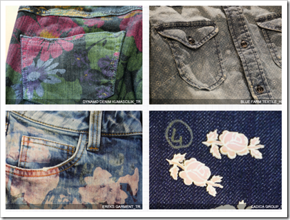 Extra Decorated denim , floral patterns etc