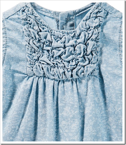 PRINTED DENIM DRESS WITH RUFFLES ( THAILAND )