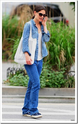 Katie Holmes in Double denim