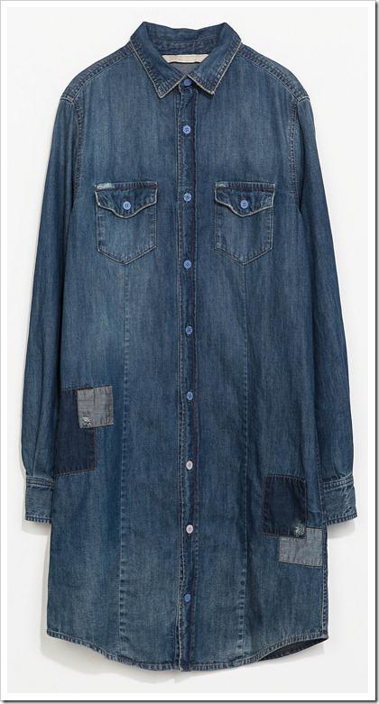 ZARA/PATCHED DENIM SHIRT DRESS