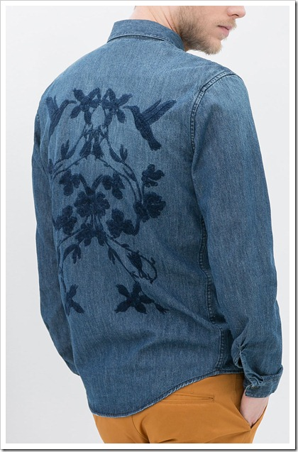 ZARA/DENIM SHIRT WITH EMBROIDERY ON BACK