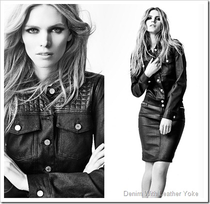 7 For All Mankind Fall Winter 2014 Women's Lookbook- Denim With Leather Yoke