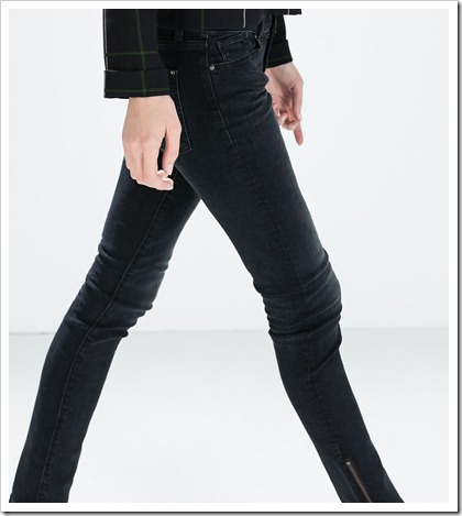 Zara-Mid-Rise Skinny Jeans with Zips