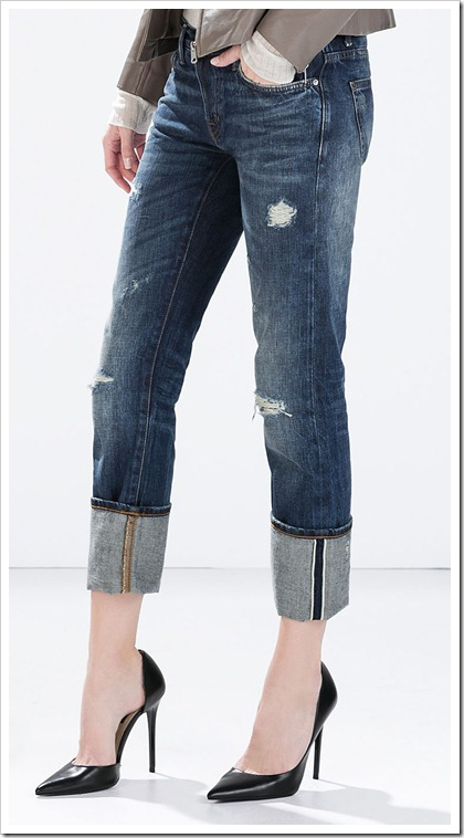 Zara-Distressed Denim Relaxed Fit Jeans