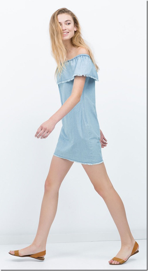 Chambray dress with frills