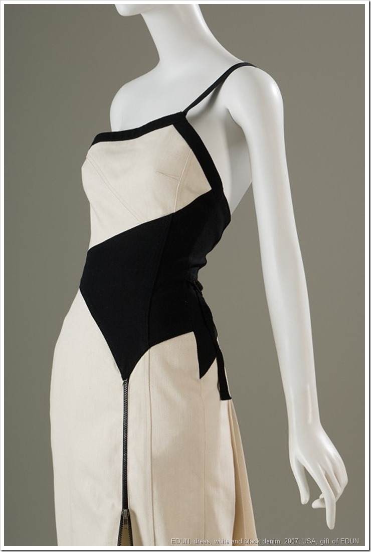 EDUN, dress, white and black denim, 2007, USA, gift of EDUN, 2010.7.1