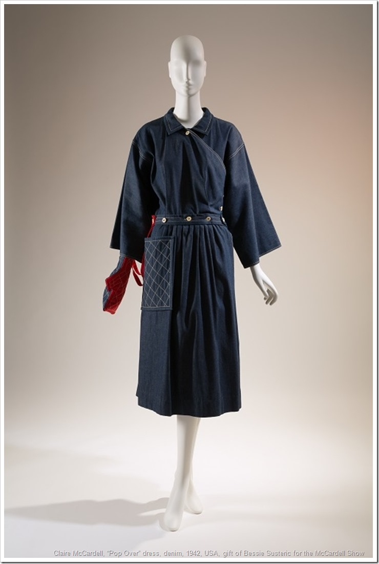 "Claire McCardell, ""Pop Over"" dress, denim, 1942, USA, gift of Bessie Susteric for the McCardell Show, 72.54.1"