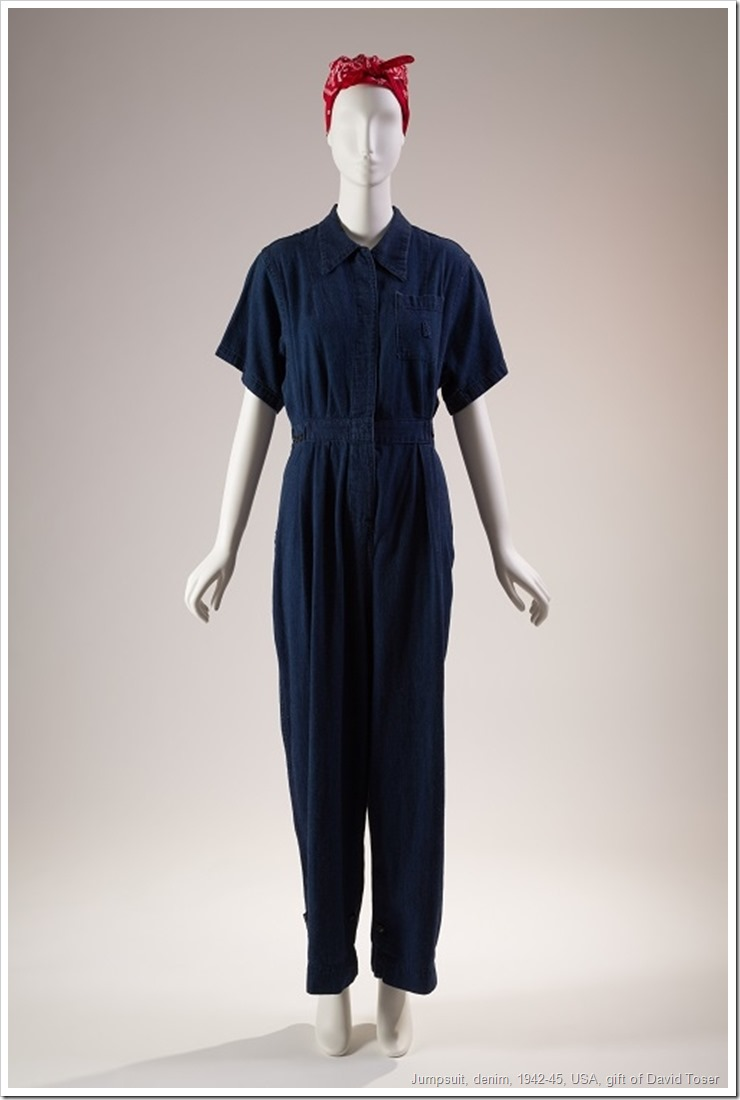 Jumpsuit, denim, 1942-45, USA, gift of David Toser, 2007.63.7