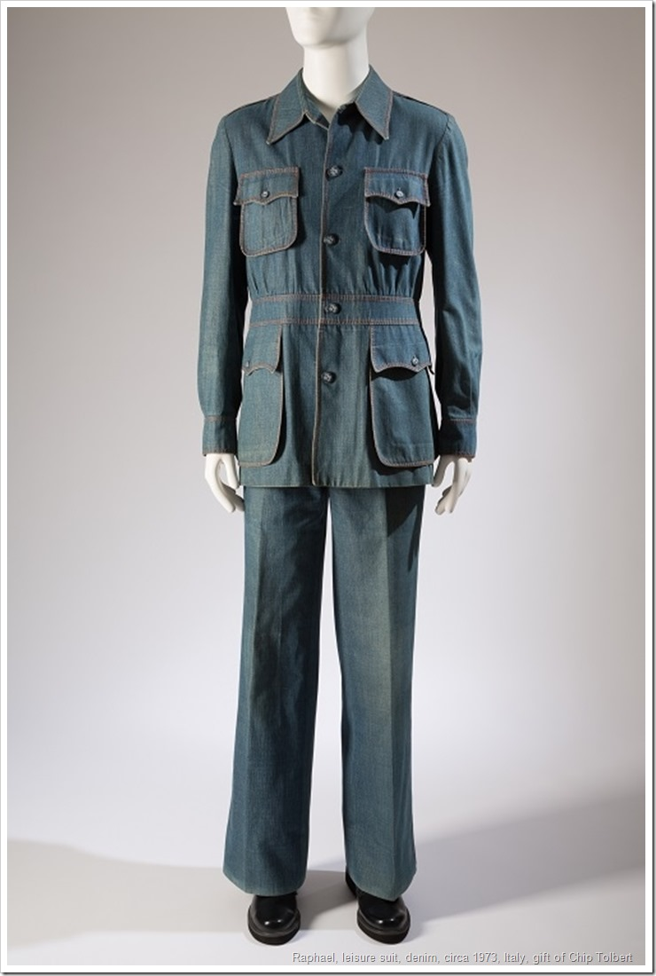 Raphael, leisure suit, denim, circa 1973, Italy, gift of Chip Tolbert, 85.161.8