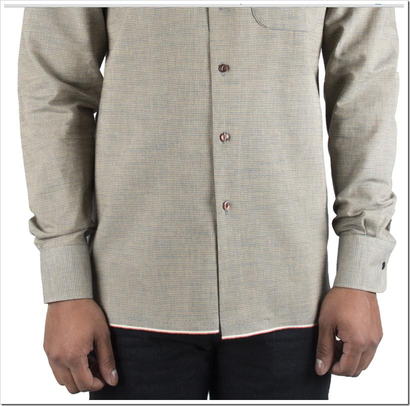 Indigo Selvedge Chambray With Plaid - Selvedge Shirt