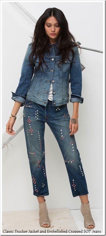 Embellished Cropped 501 Jeans