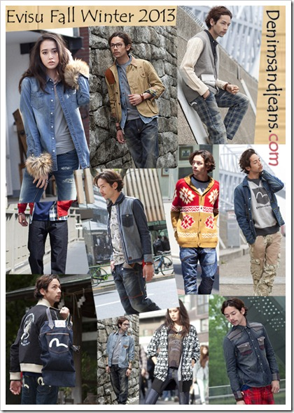 Evisu Fall Winter 2013 denim collection collage