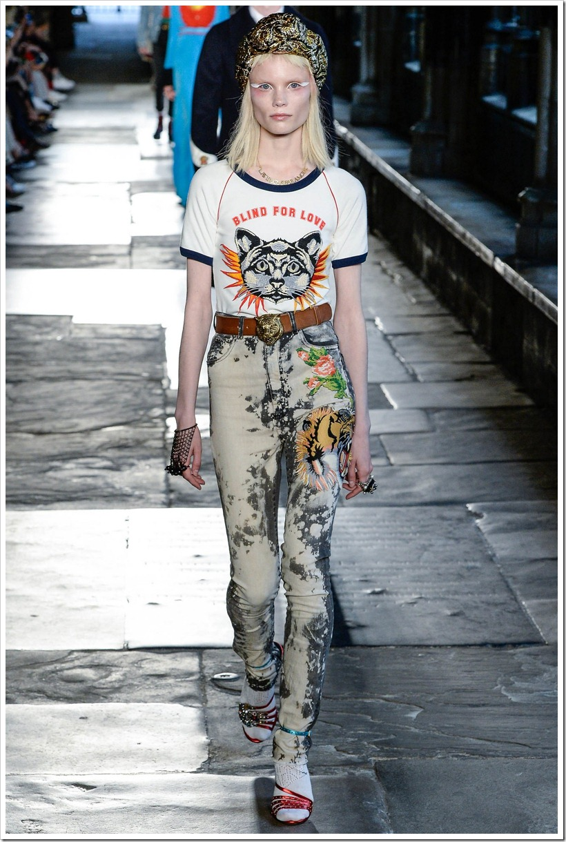 Gucci At London Resort Look  - With 9 Acid-Washed Denim